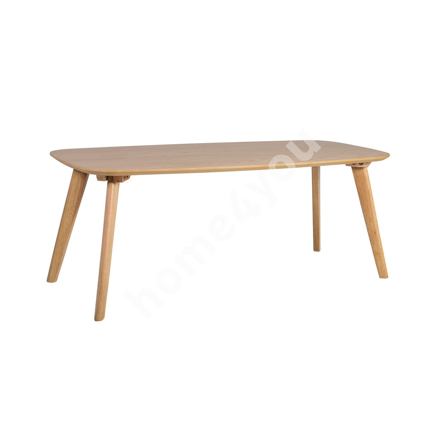 Coffee table DAHLIA 110x50xH42,5cm, table top: MDF with oak veneer, legs and apron: rubber wood, color: oak