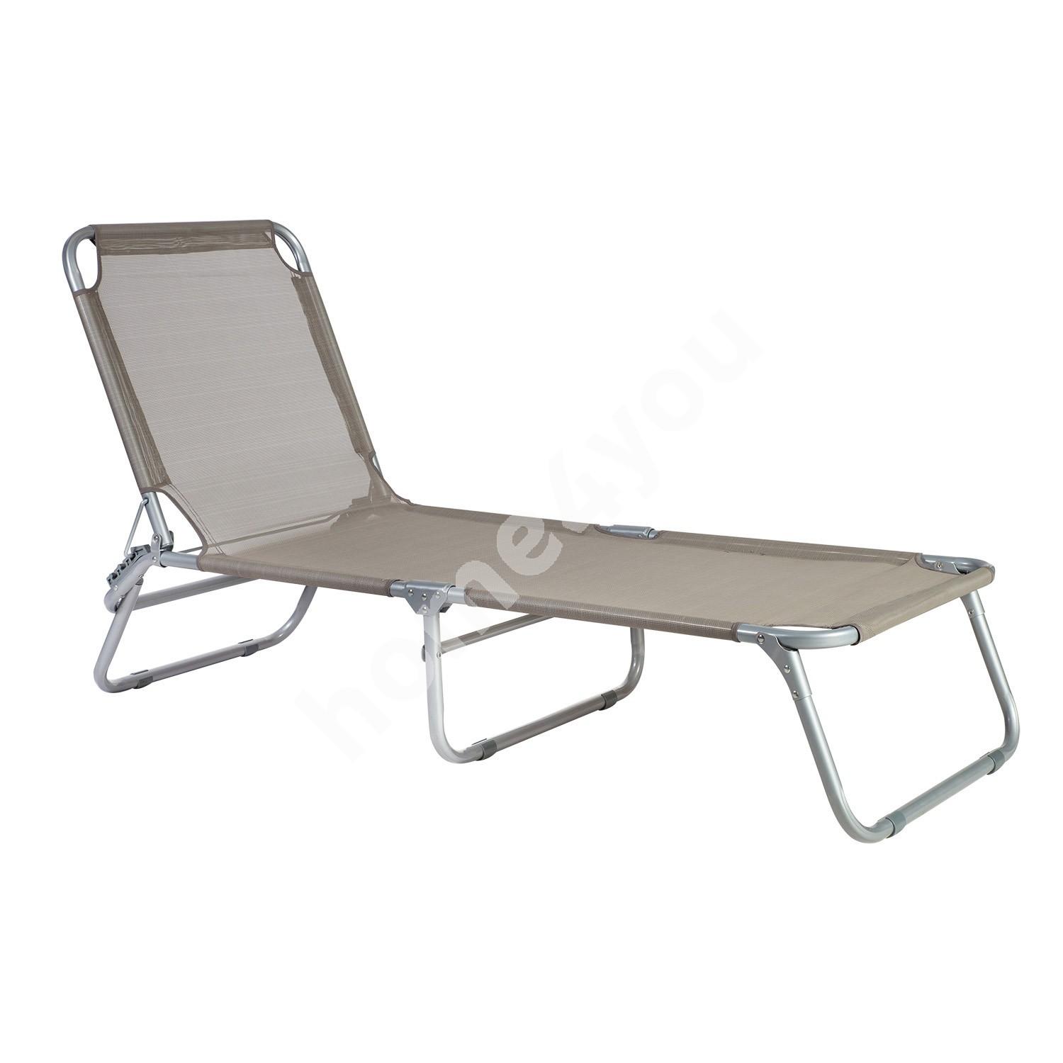 Lounge TRIP 191x57xH28cm, bed: textiline, color: taupe, steel frame: color: silver