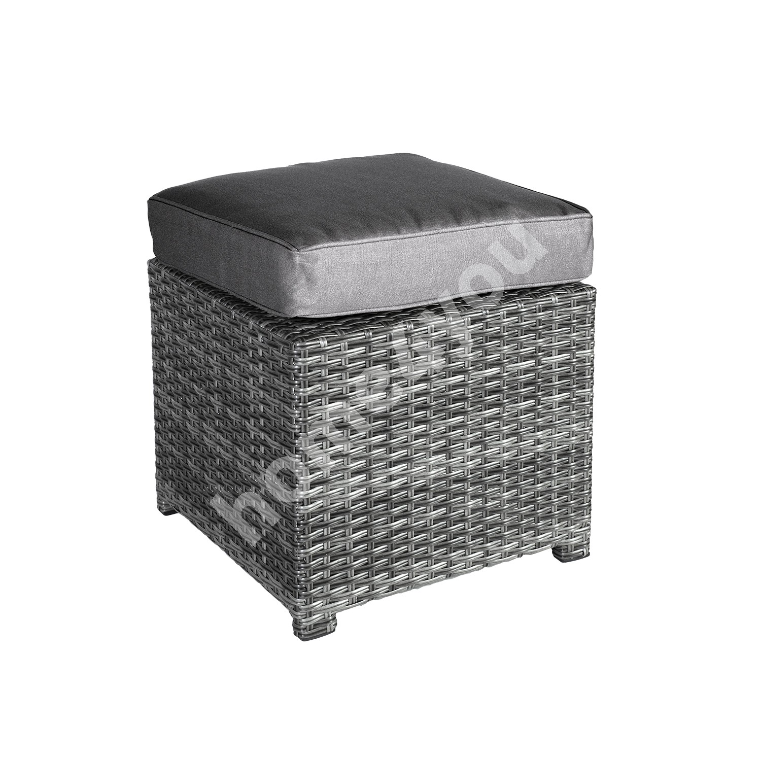 Stool PAVIA  with cushion 45,5x45,5xH34,5cm,  aluminum frame with plastic wicker, color: dark grey