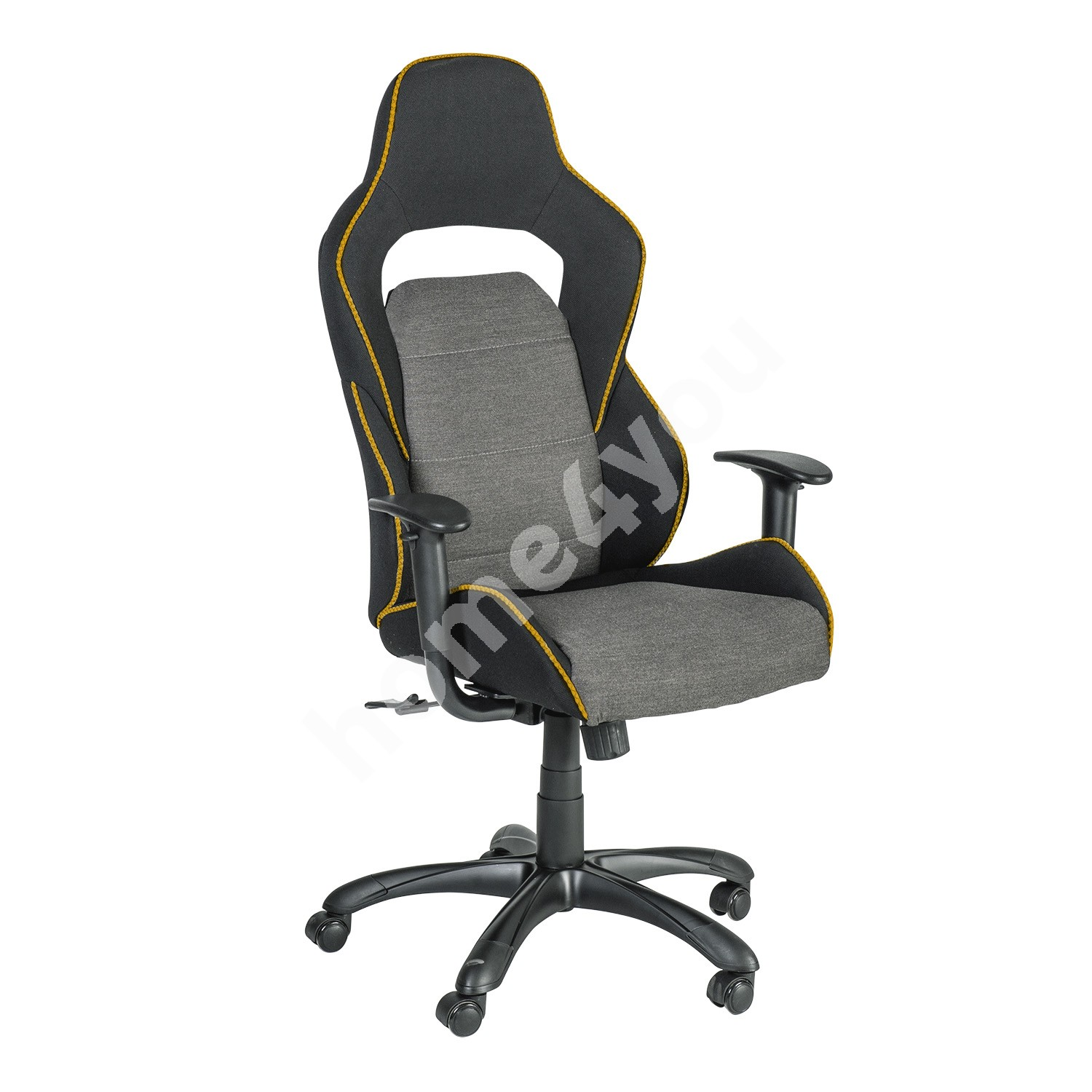 Task chair COMFORT 69x68xH120-130cm, seat and back rest: fabric, color: black / grey with orange welt