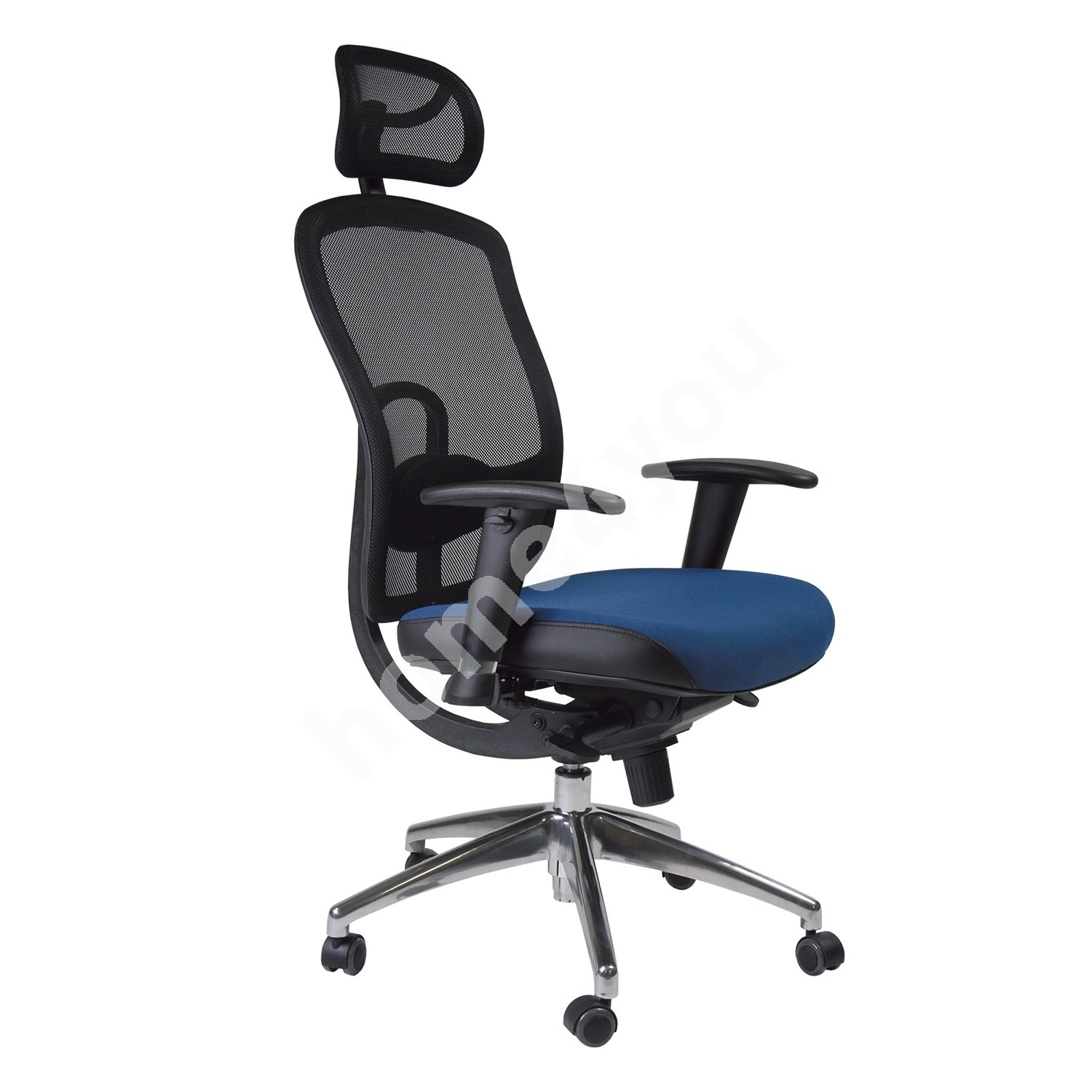 Task chair LUCCA 64xD63,5xH123-131cm, seat: fabric, color: blue