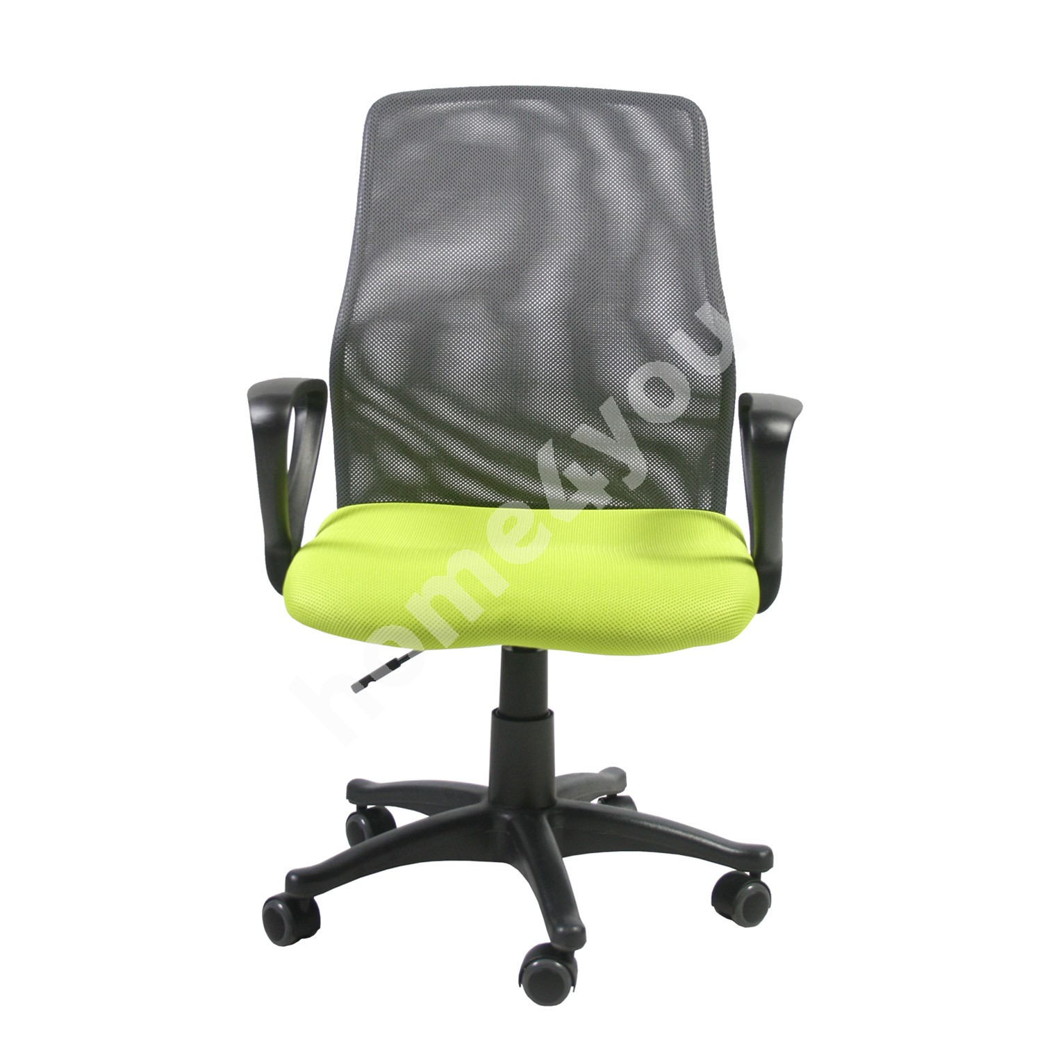 Task chair TREVISO 59xD58xH90-102cm, seat: fabric, color: green, back rest: mesh, color: grey