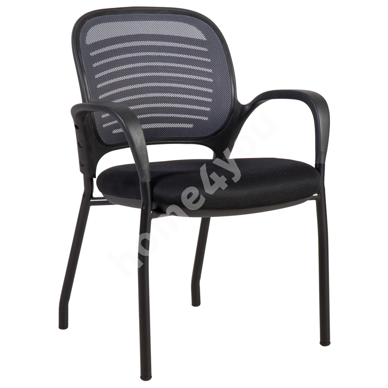 Guest chair TORINO 59xD59xH84cm, seat: fabric, color: black, back rest: mesh, color: grey, frame: black