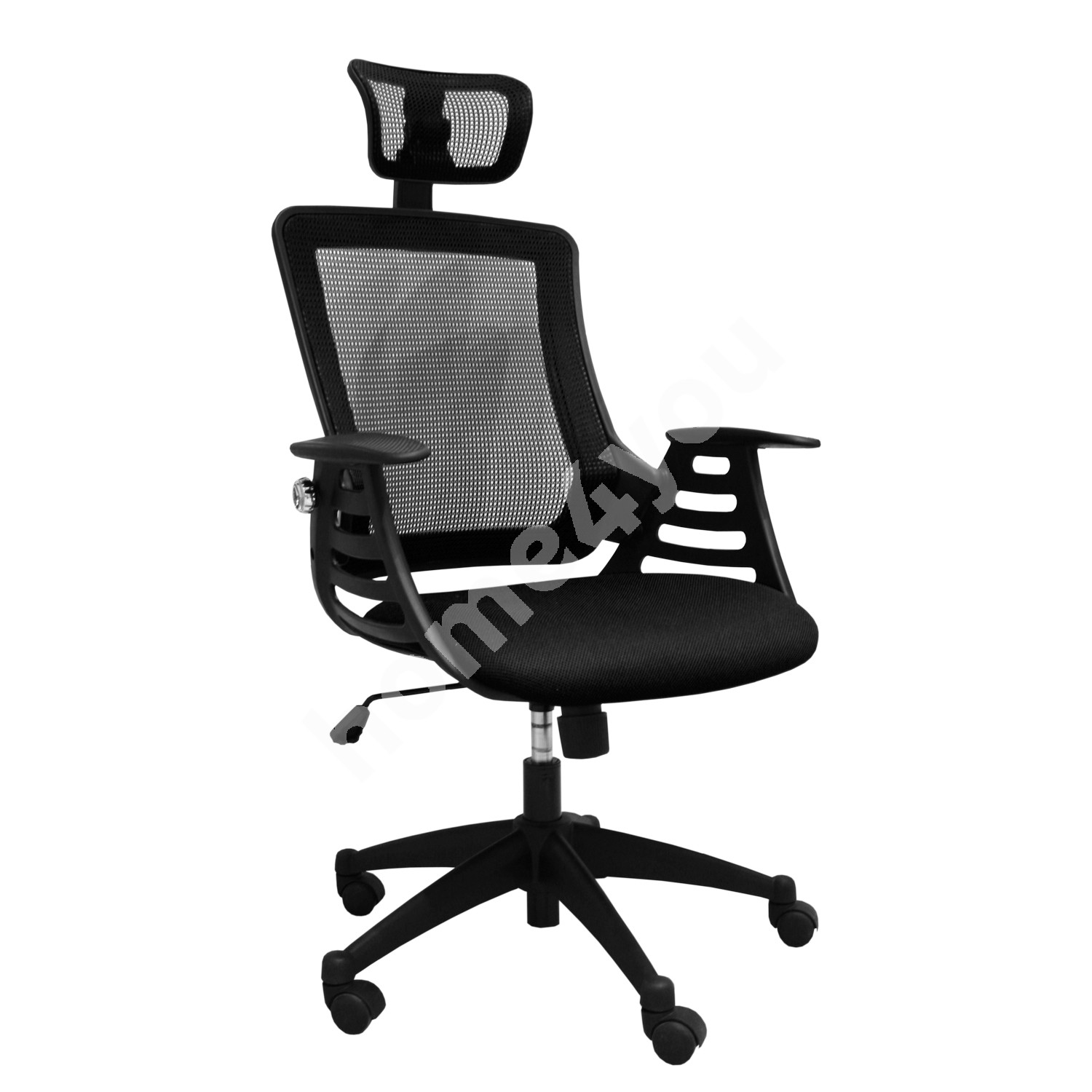 Task chair MERANO with headrest, 64,5xD49xH96-103cm, seat and back rest: mesh fabric, color: black