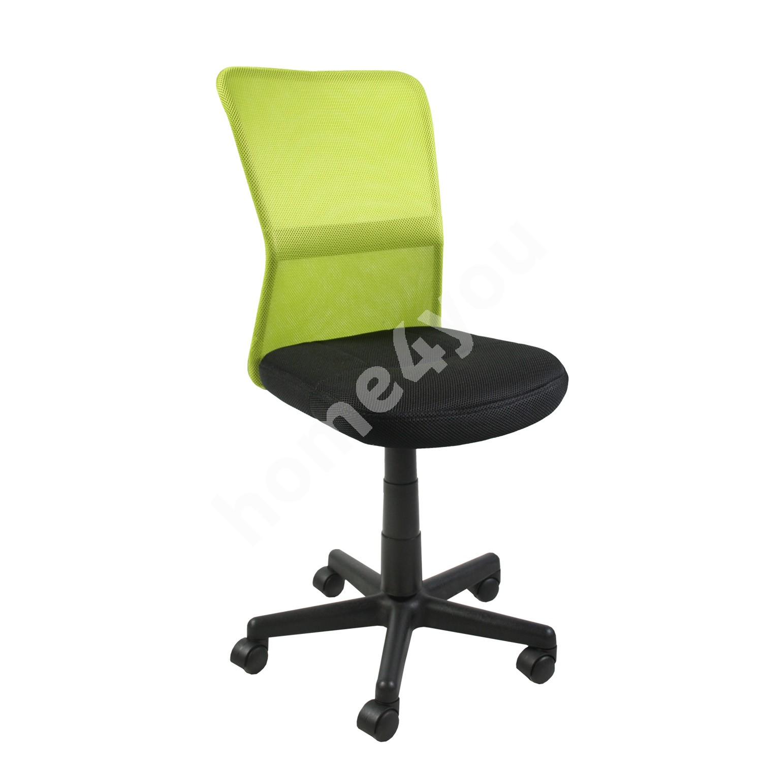 Task chair BELICE 41xD42xH83-93cm, seat: fabric, color: black, back rest: mesh, color: green