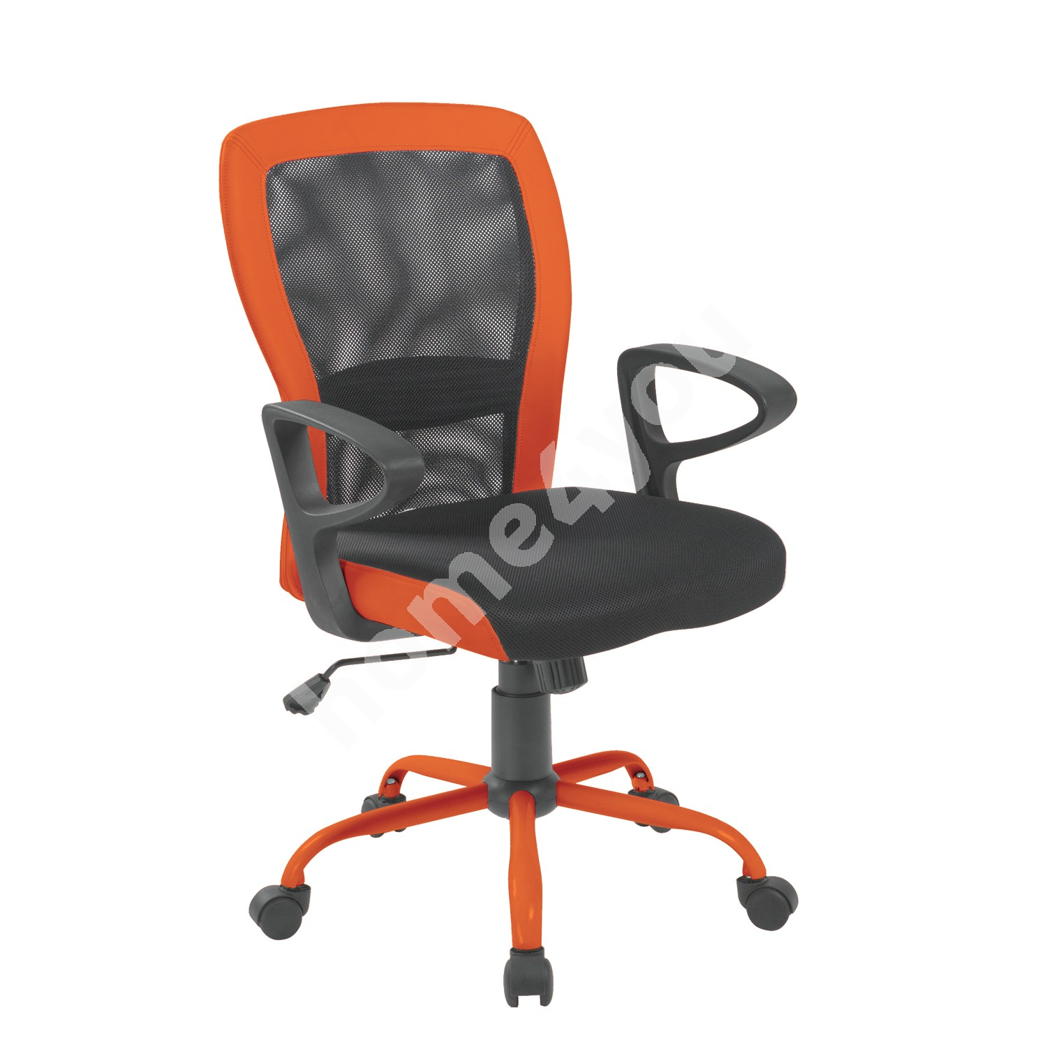 Task chair LENO 60x57xH91/98,5cm, seat: fabric, color: grey, back: mesh: color: grey, orange PU borders