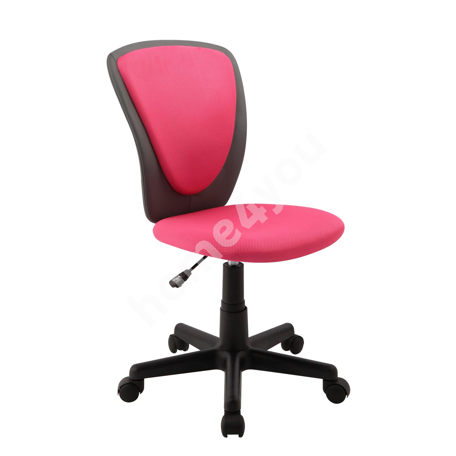 Task chair BIANCA 42x51xH82-94cm, seat and back rest: mesh fabric / imitation leather, color: pink - dark grey