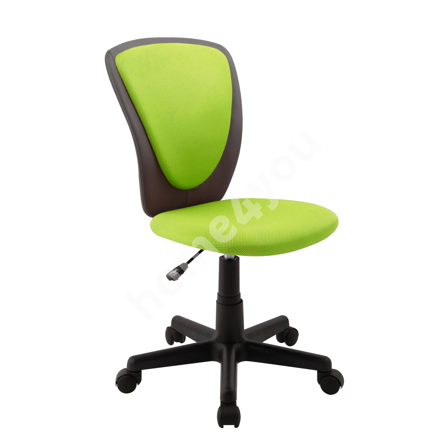 Task chair BIANCA 42x51xH82-94cm, seat and back rest: mesh fabric / imitation leather, color: green - dark grey