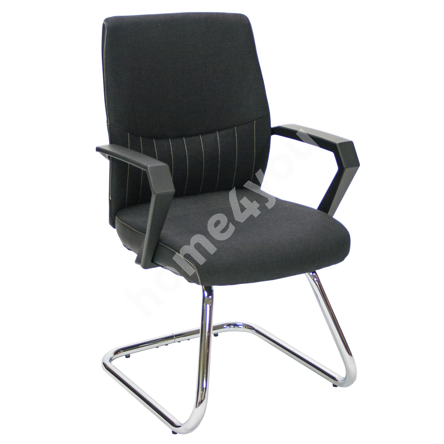 Quest chair ANGELO 58x57xH90cm, seat and back rest: fabric, color: black, frame: chromed
