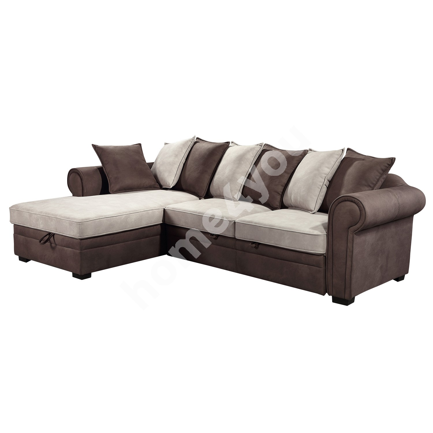 Corner sofa bed LUCREZIA with bedding box, left corner 284x170/90xH90cm, cover material: fabric, color: brown / beige