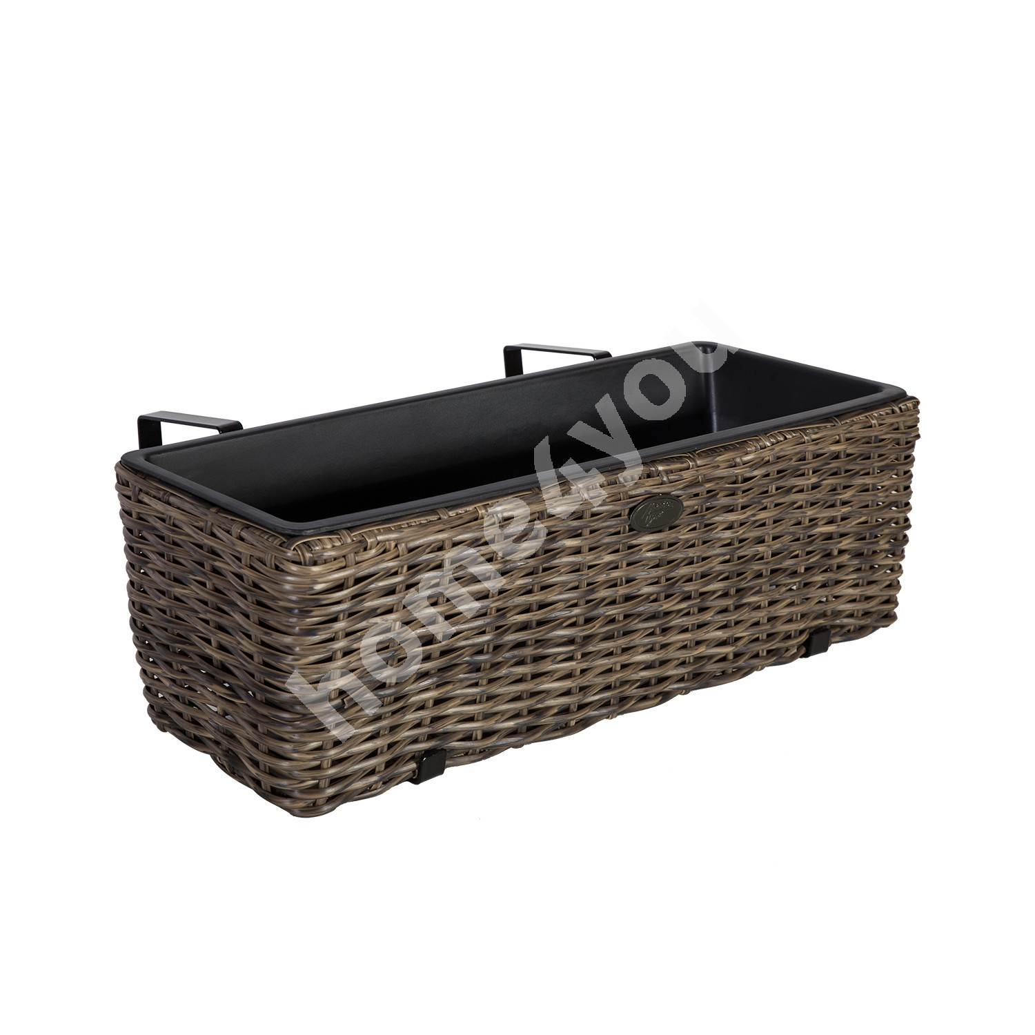 Balcony flower box WICKER 60x19xH18cm, plastic wicker, color: dark brown