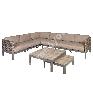 Aiamööbli komplekt ADMIRAL patjadega, nurgadiivan ja 2 lauda, alumiiniumraam plastikpunutisega ,värvus: helepruun