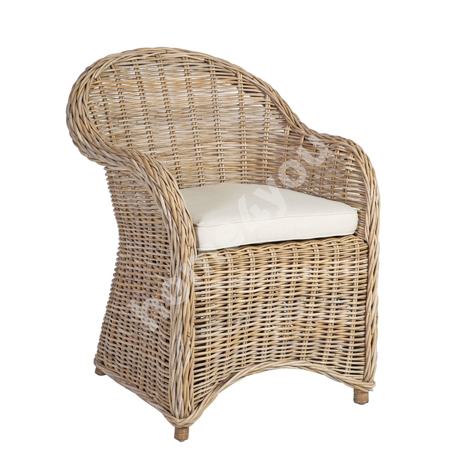 Armchair KATALINA with cushion 63x66xH85cm, rattan frame with natural rattan weaving, color: grey