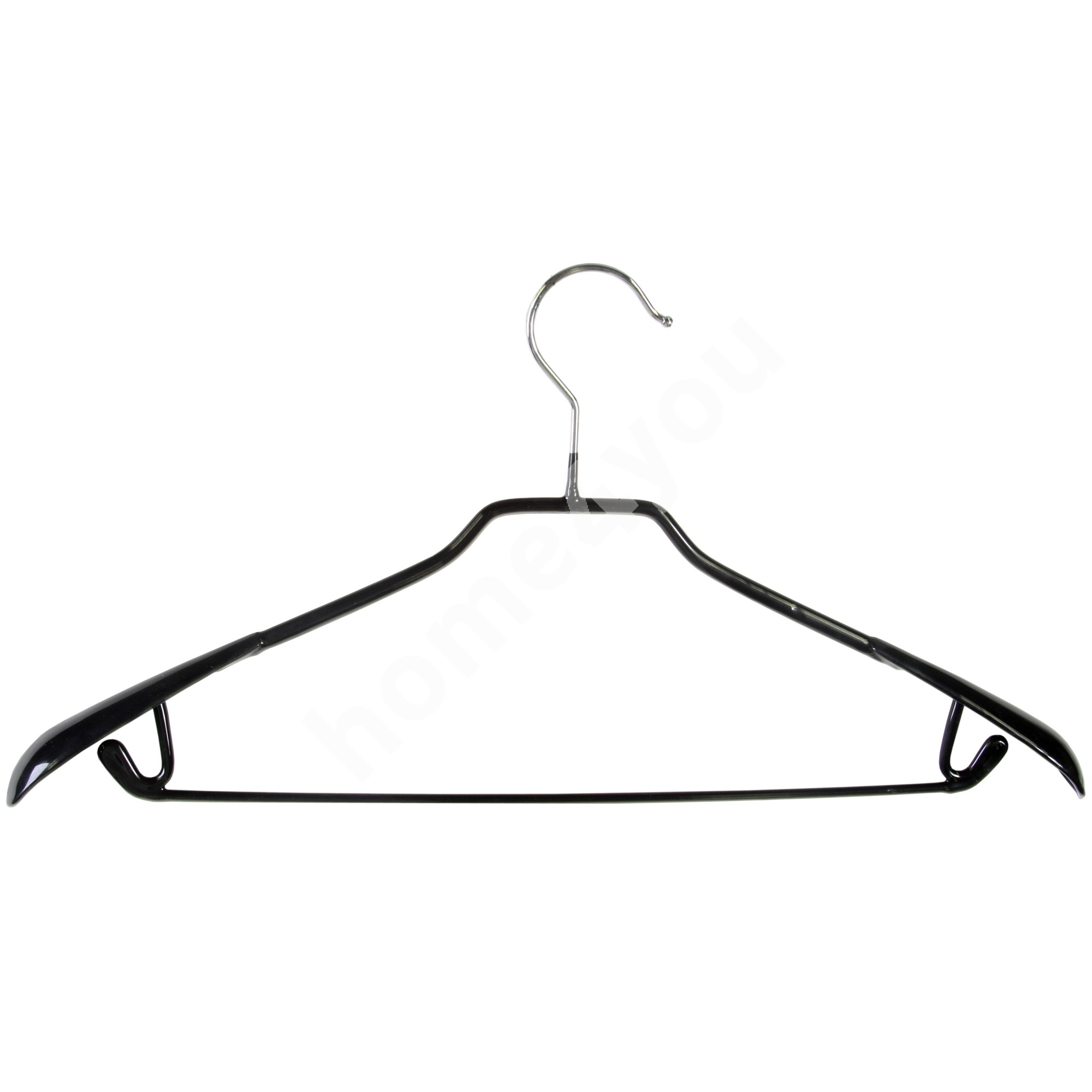 Cloth hanger with trouser bar and hooks, non-slip, black PVC cover