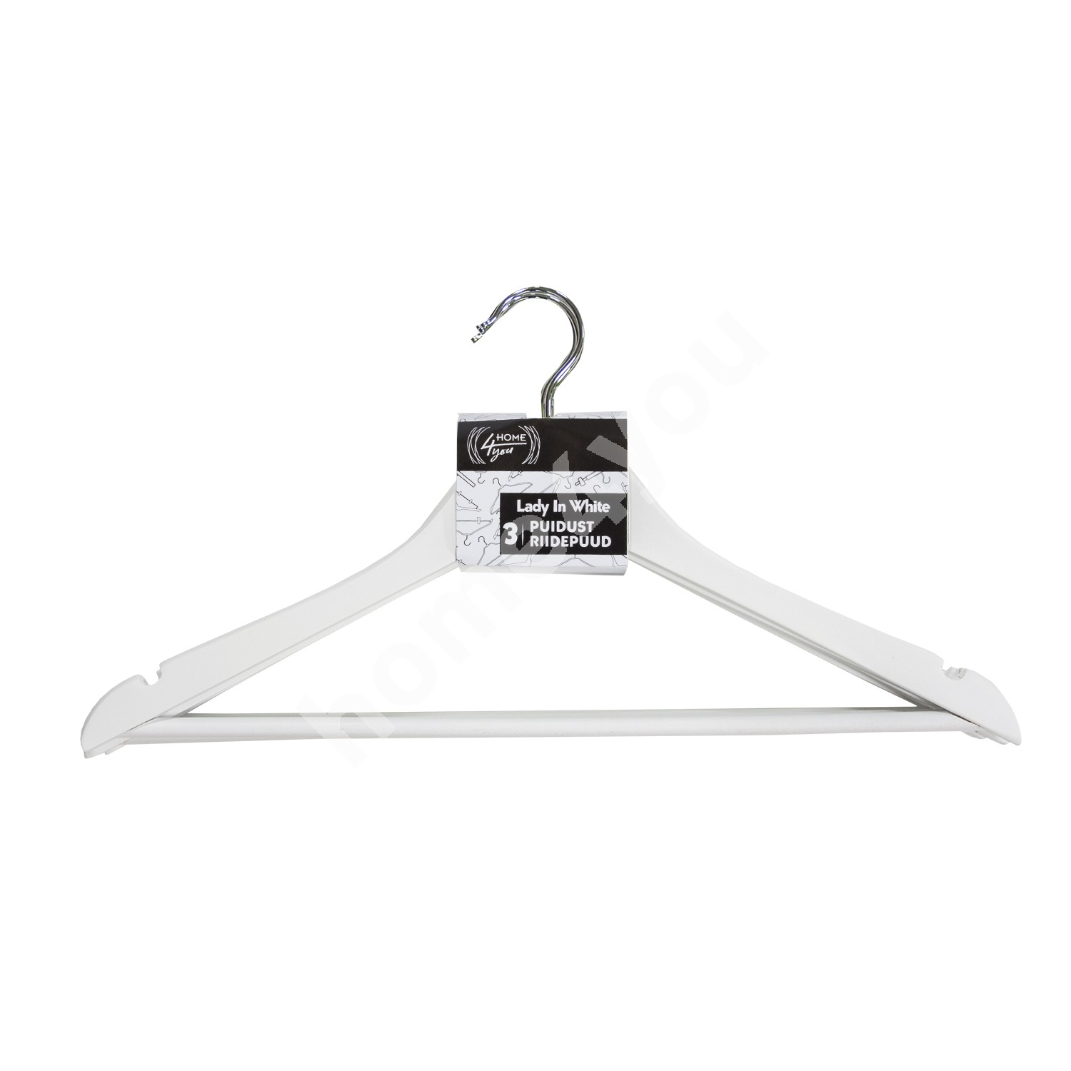 Cloth hangers 3pcs/set, LADY IN WHITE, white wood
