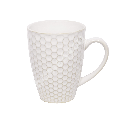 Mug LUME, 280ml, D8xH10.5cm, honey comb design, white, trendy glowing glaze