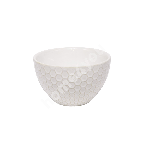 Small bowl LUME, 400ml, D12.5xH7cm, honey comb design, white, trendy glowing glaze
