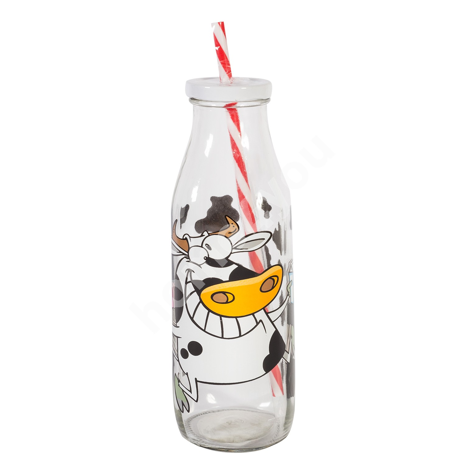 Bottle with straw JAR COW, 600ml, H21.6cm