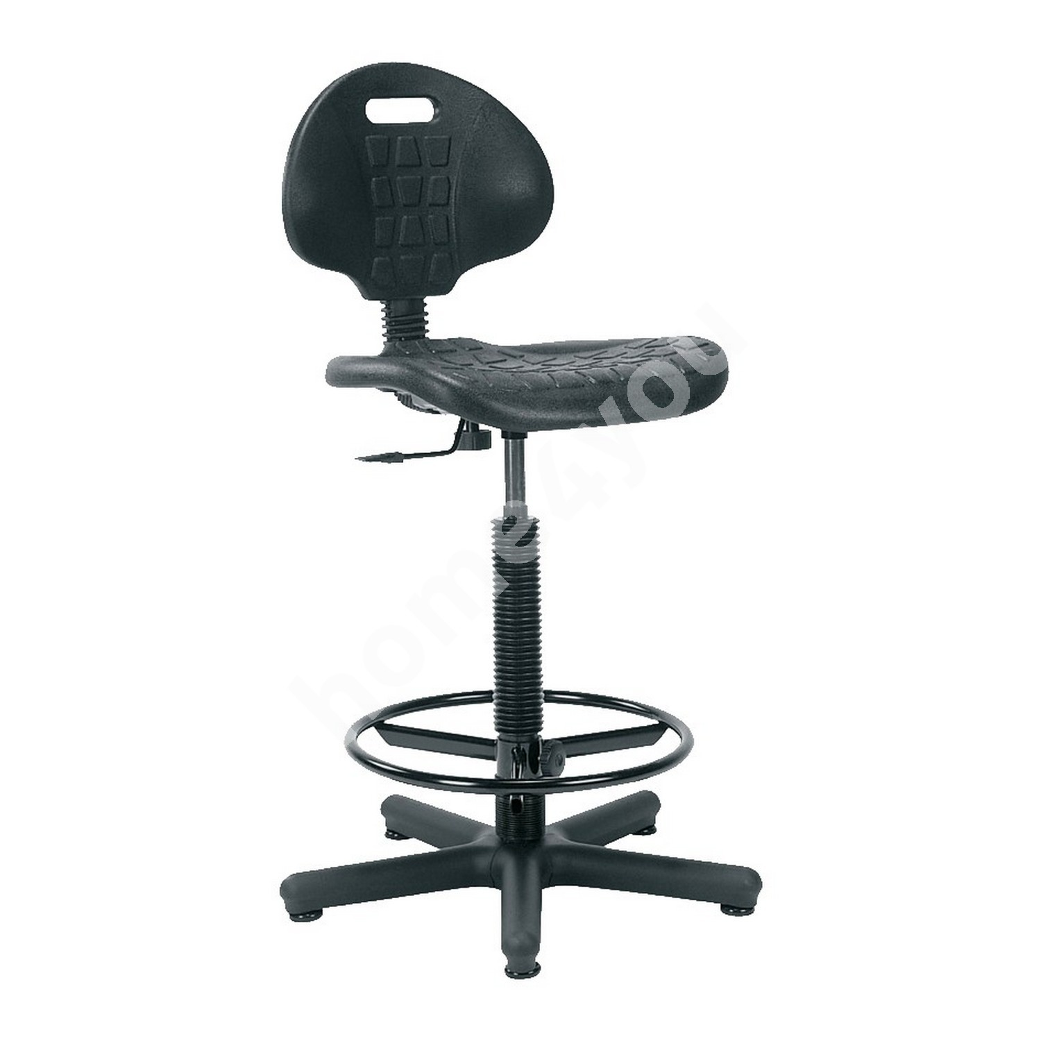 Task chair high NARGO 71x71xH89-120cm, seat and back rest: plastic, color: black