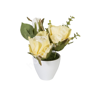 Kollased roosid IN GARDEN, H15cm, valge pott