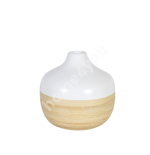 Dekoratiivvaas SOUL, D18xH17cm, valge / bambus
