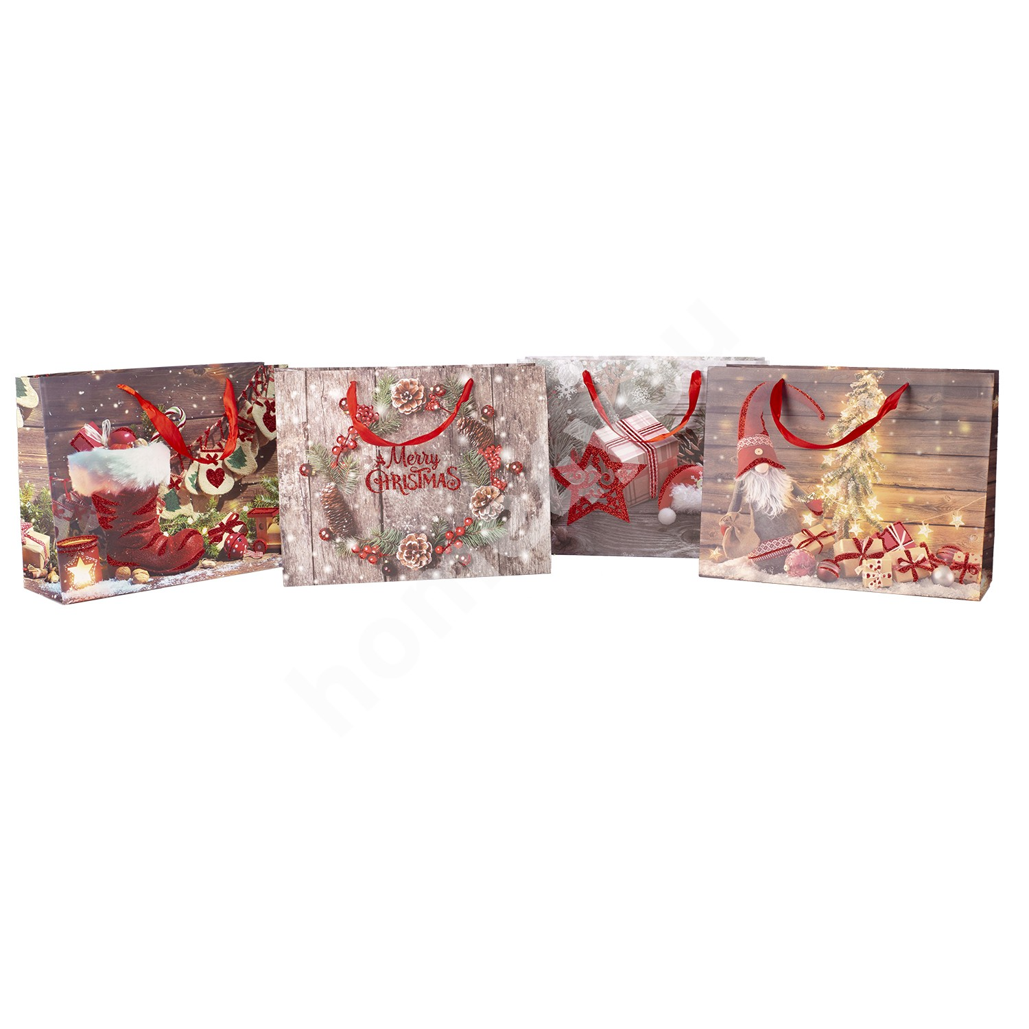 Gift bag SPARKS-2, 25x32x11cm, red glitter, mix