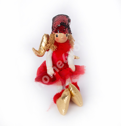 Sitting ingel MARIA, red glitter hat, H22cm