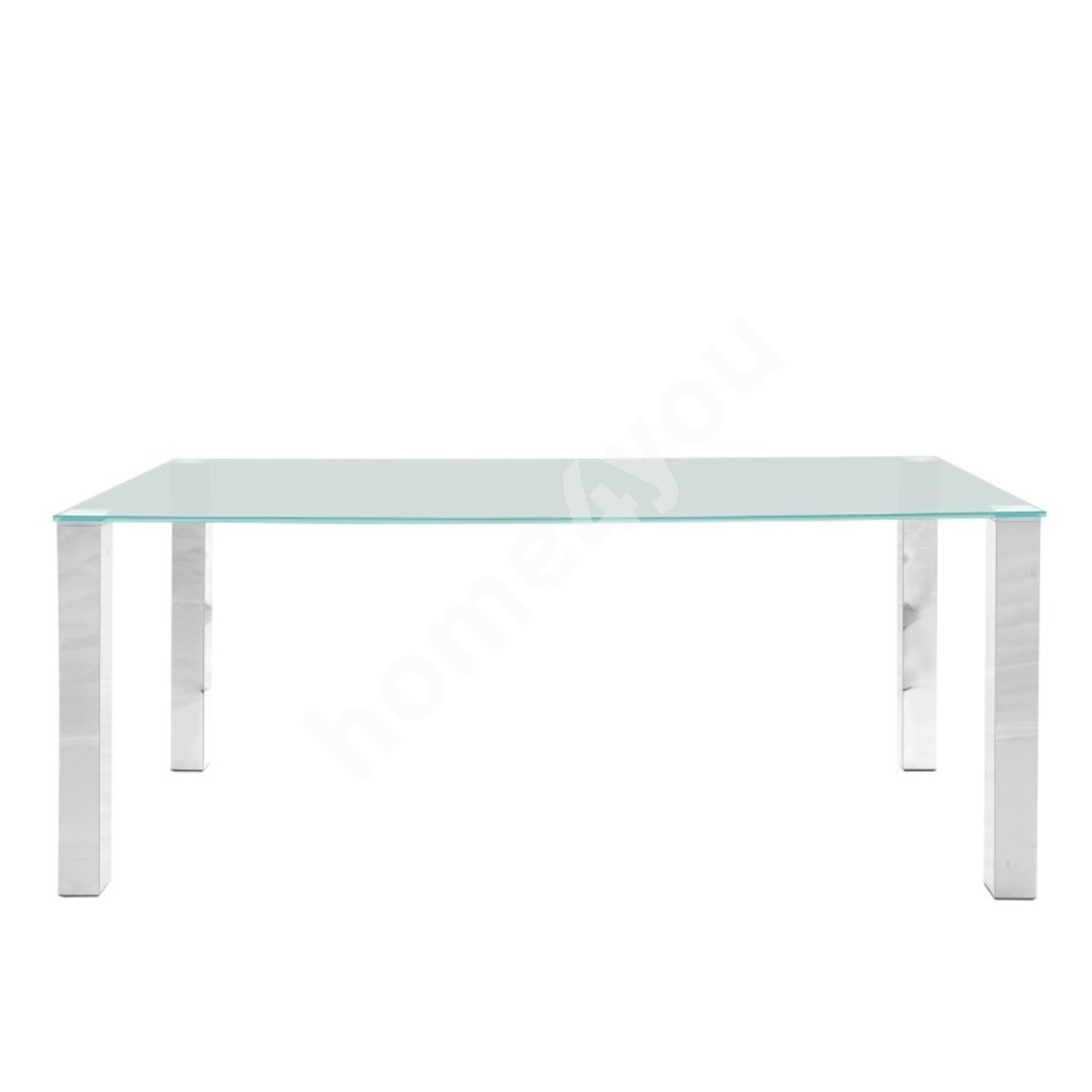 Dining table KANTE 180x90xH75cm, table top: 12mm glass, leg: chromed metal