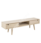 TV-laud CENTURY 160x38xH43cm, 2-uksega, materjal: tammespoon/mööbliplaat, viimistlus: õlitatud valge pigmendiga