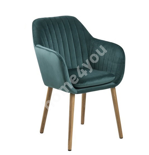 Tool EMILIA 57x59xH83cm, iste ja seljatugi: kangas, värvus: sinakasroheline, jalad: tamm, viimistlus: õlitatud