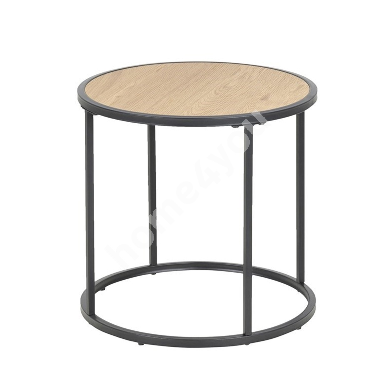 Side table SEAFORD D45xH43cm, table top: laminated particle board, color: oak, frame: black metal