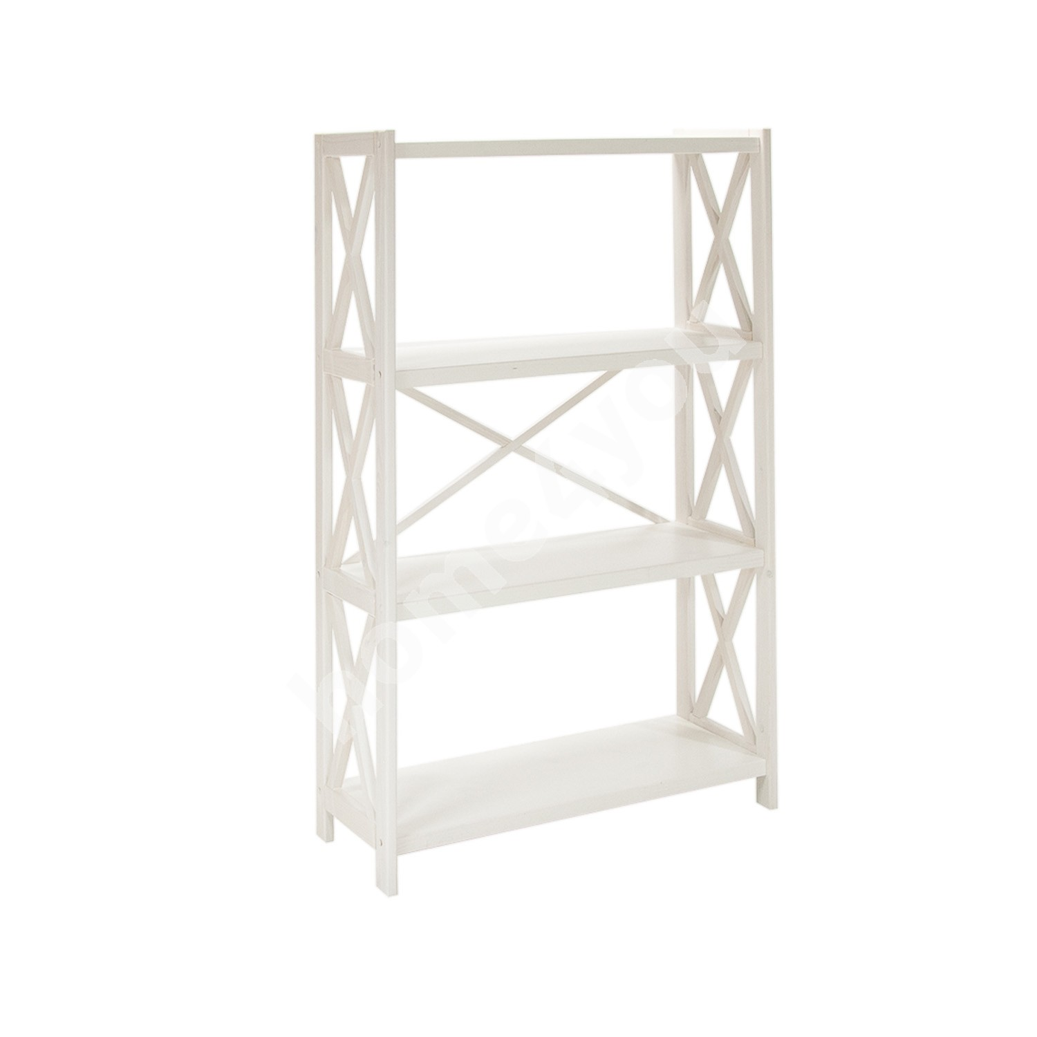 Shelf ALEX 4-tier, 80x31xH123cm, wood: pine, color: white