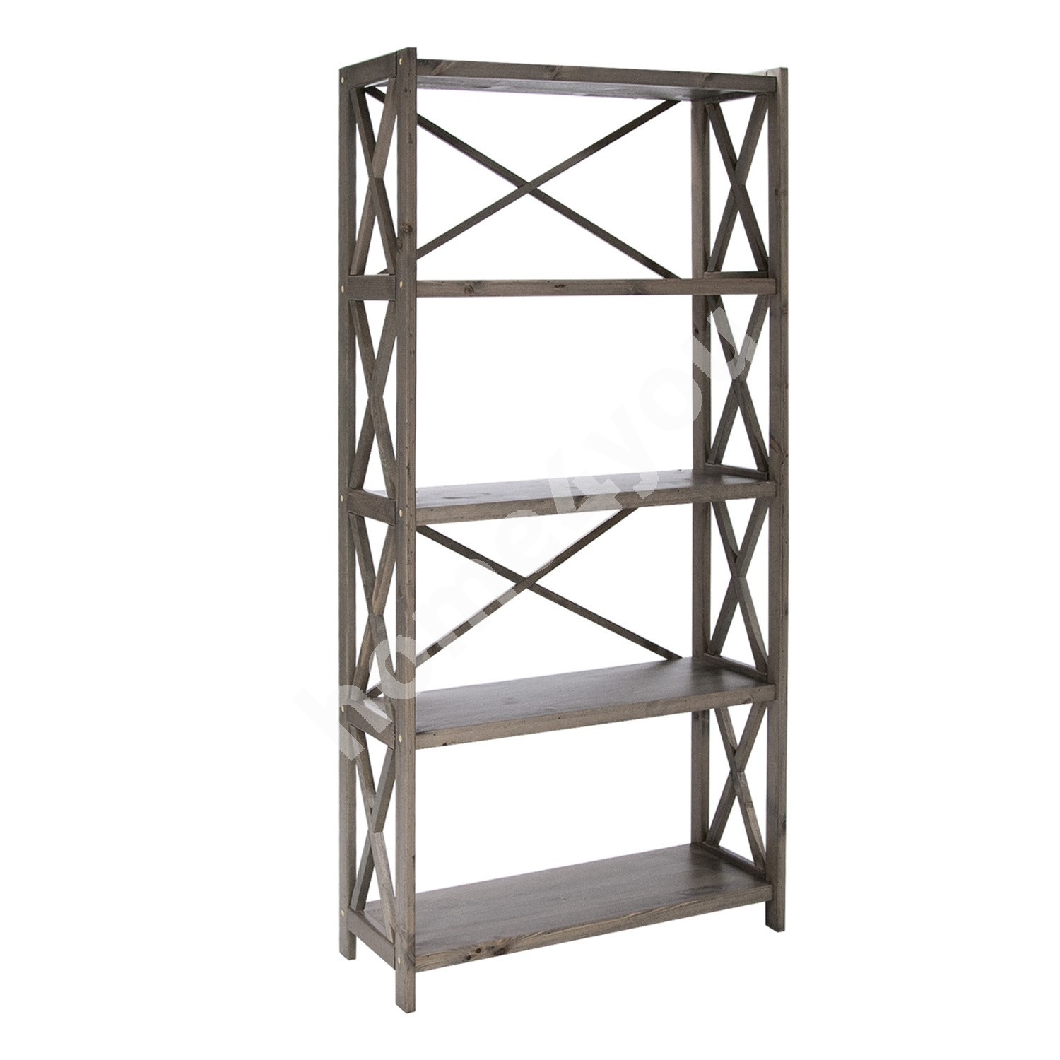 Shelf ALEX 5-tier, 80x31xH161cm, wood: pine, color: antique grey