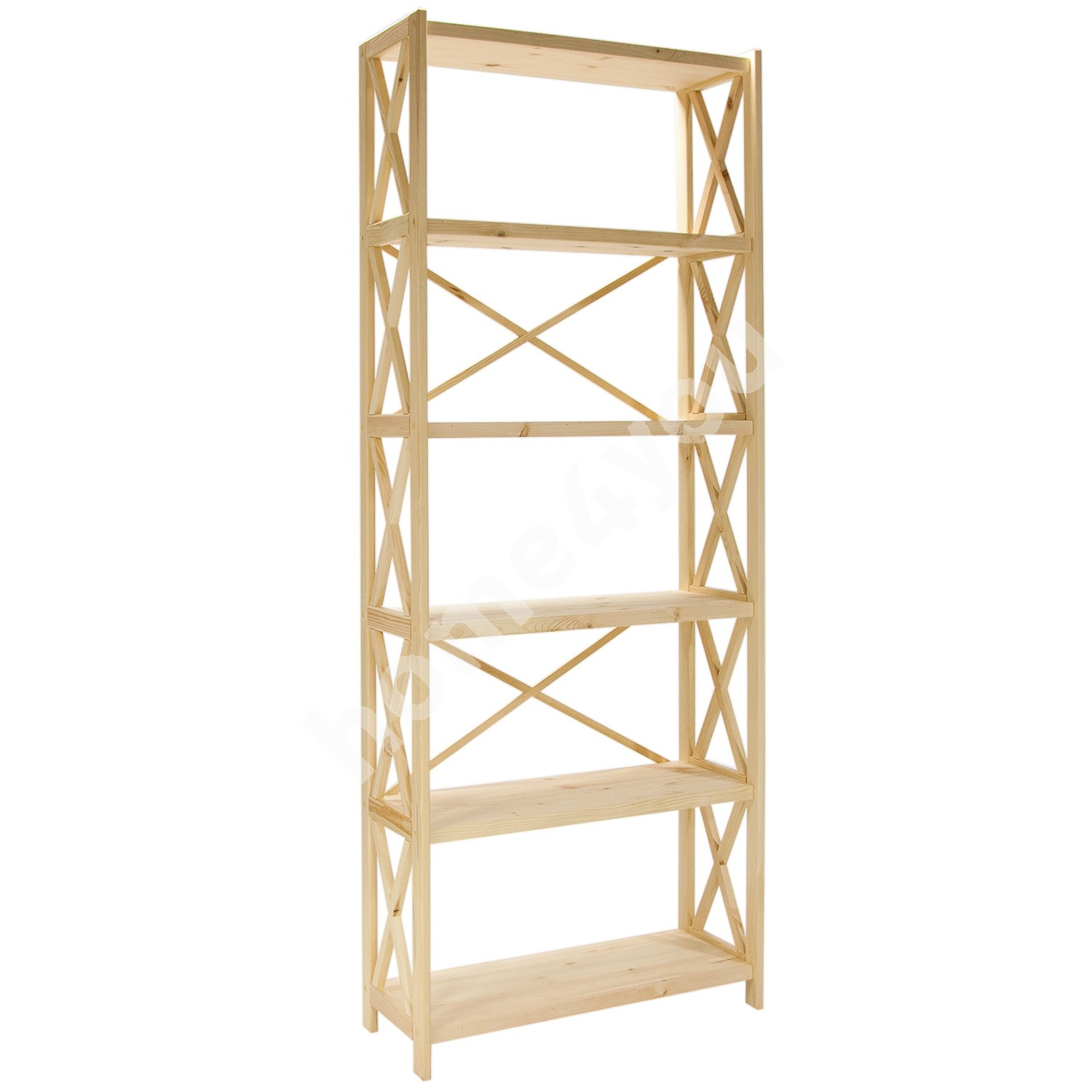 Shelf ALEX 6-tier, 80x31xH198cm, wood: pine, color: natural
