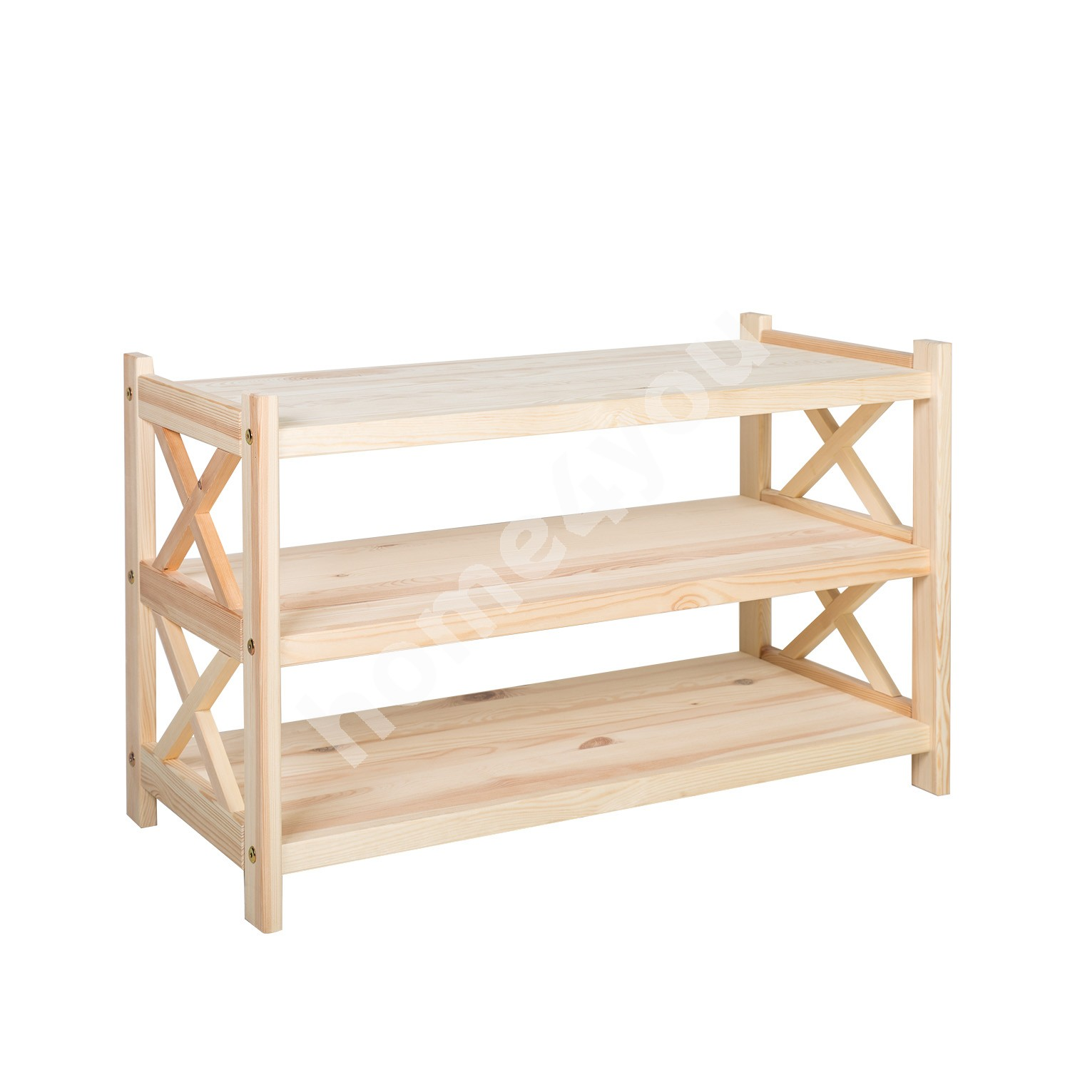 Shoe rack ALEX 3-ne, 80x36,5xH49cm, wood: pine, color: natural