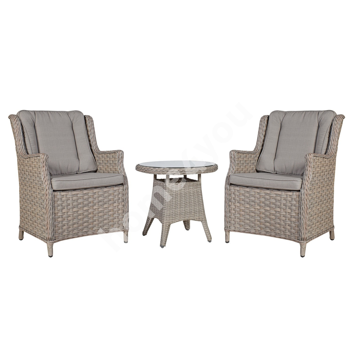 Garden furniture set PACIFIC table and 2 chairs (10494) D60xH55cm, aluminum frame with plastic wicker, color: greyish be