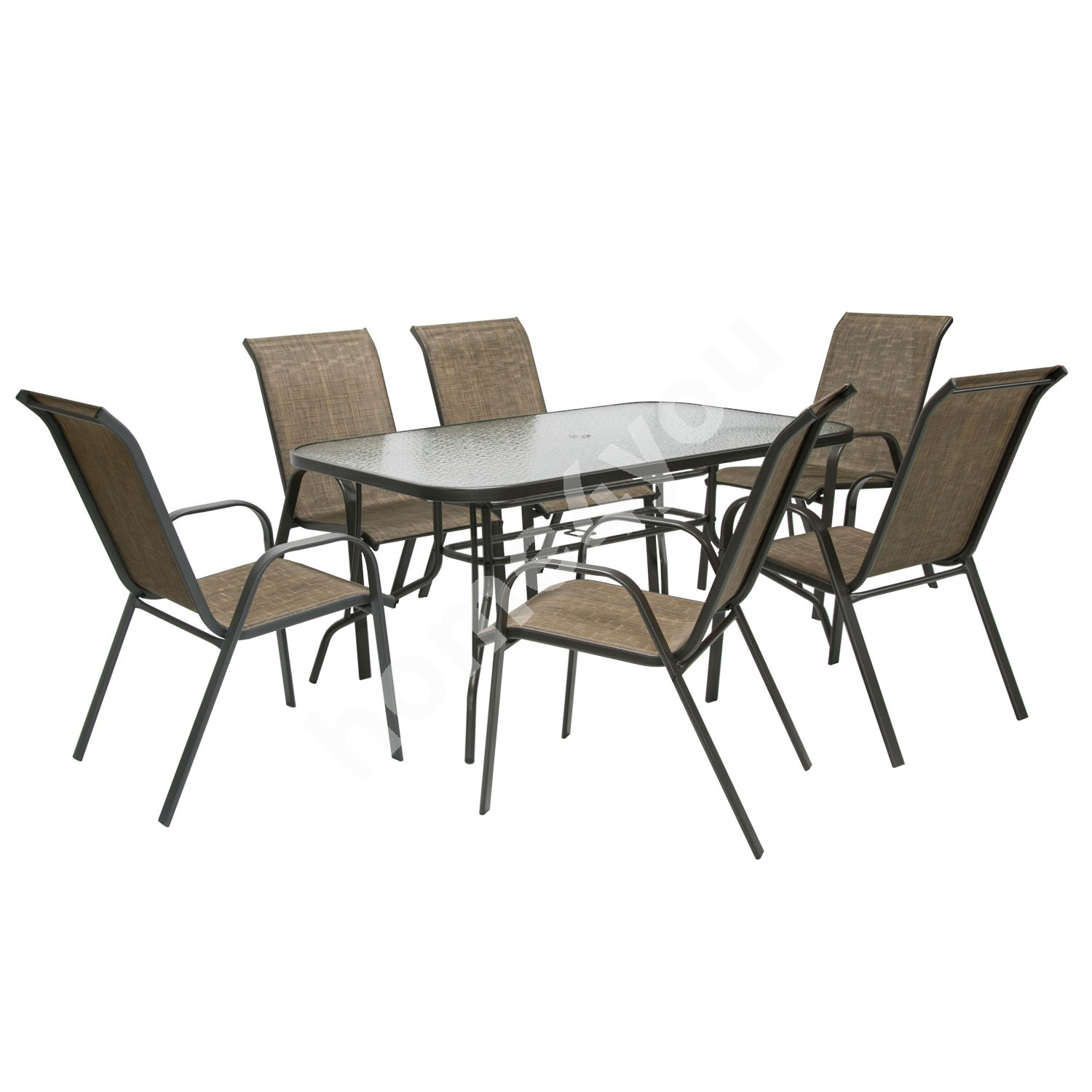 Set DUBLIN table and 6 chairs, 150x90xH70cm, table top: 5mm transparent wave glass, steel frame, color: dark brown