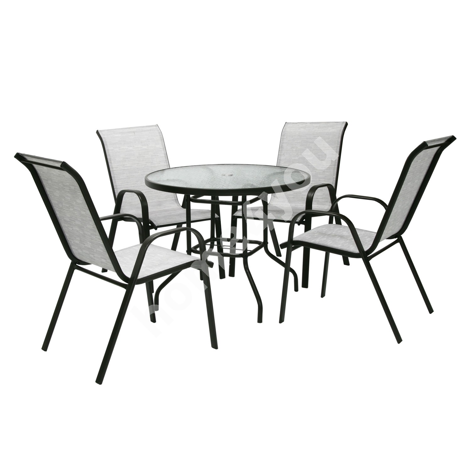 Set DUBLIN table and 4 chairs, D90xH71cm, table top: 5mm transparent wave glass, steel frame, color: dark brown