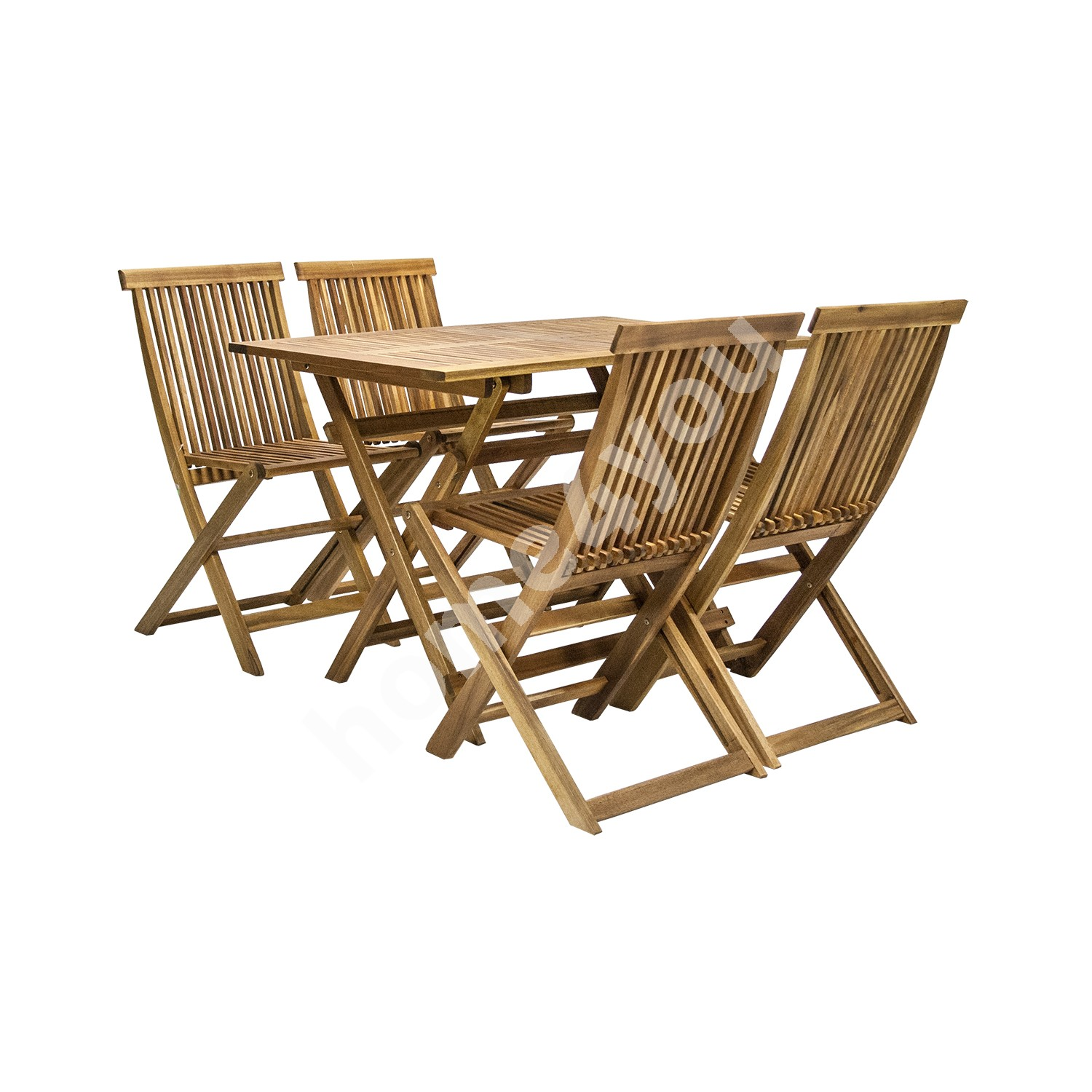 Set FINLAY table and 4 chairs (13181), 110x75xH72cm, foldable, wood: acacia, finish: oiled