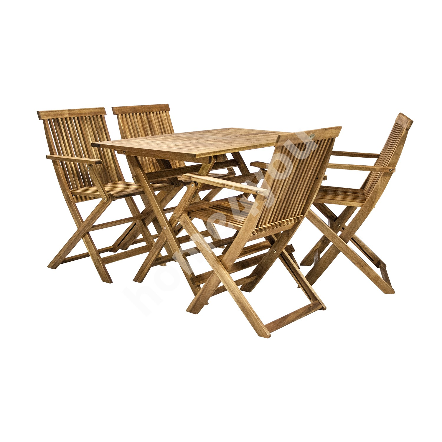 Set FINLAY table and 4 chairs (13182), 110x75xH72cm, foldable, wood: acacia, finish: oiled