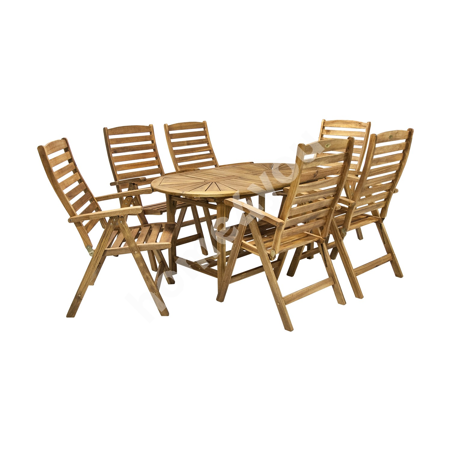 Set FINLAY table and 6 chairs (13184), 153/195x90xH72cm, extendable, wood: acacia, finish: oiled