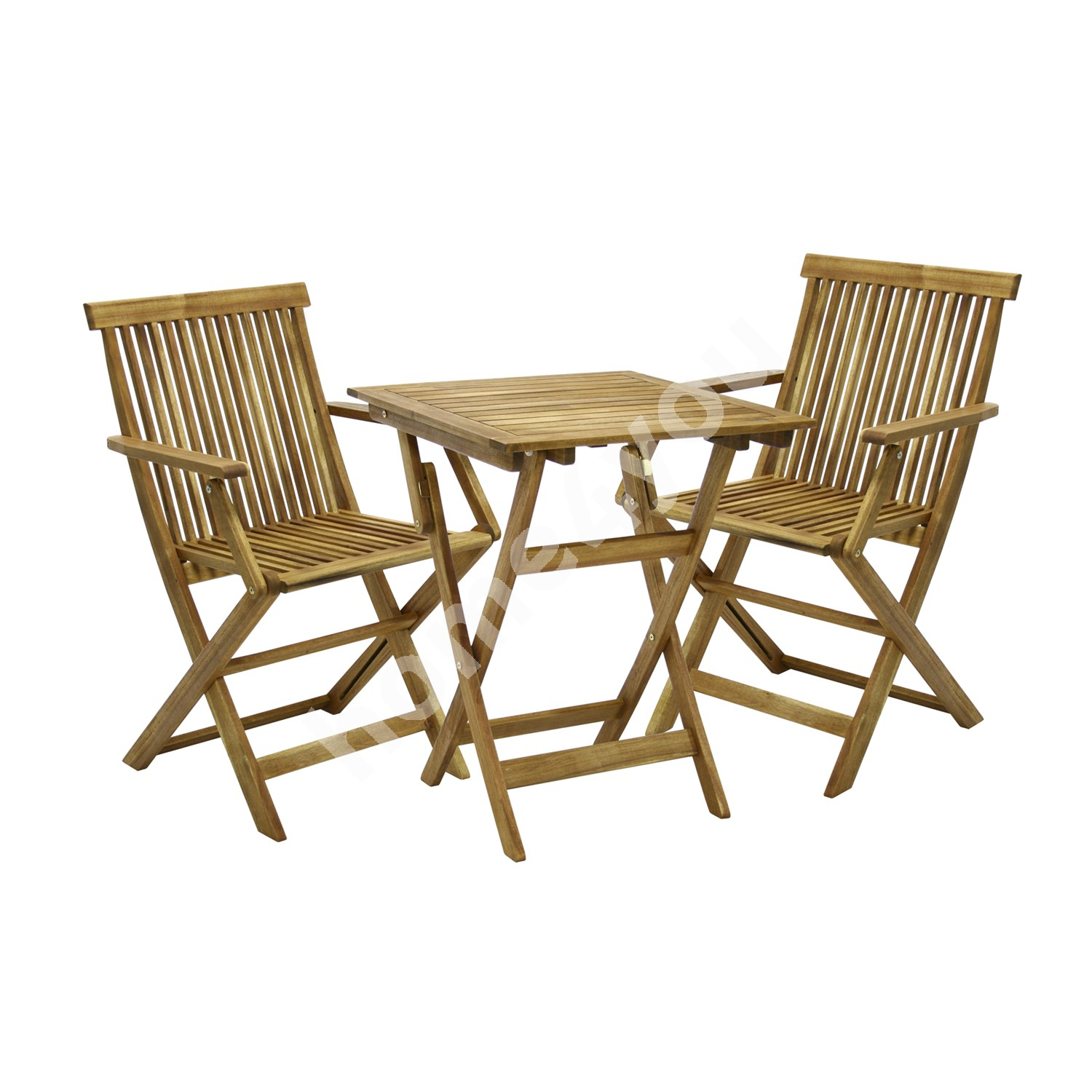 Set FINLAY table and 2 chairs (13182), 60x60xH72cm, foldable, wood: acacia, finish: oiled