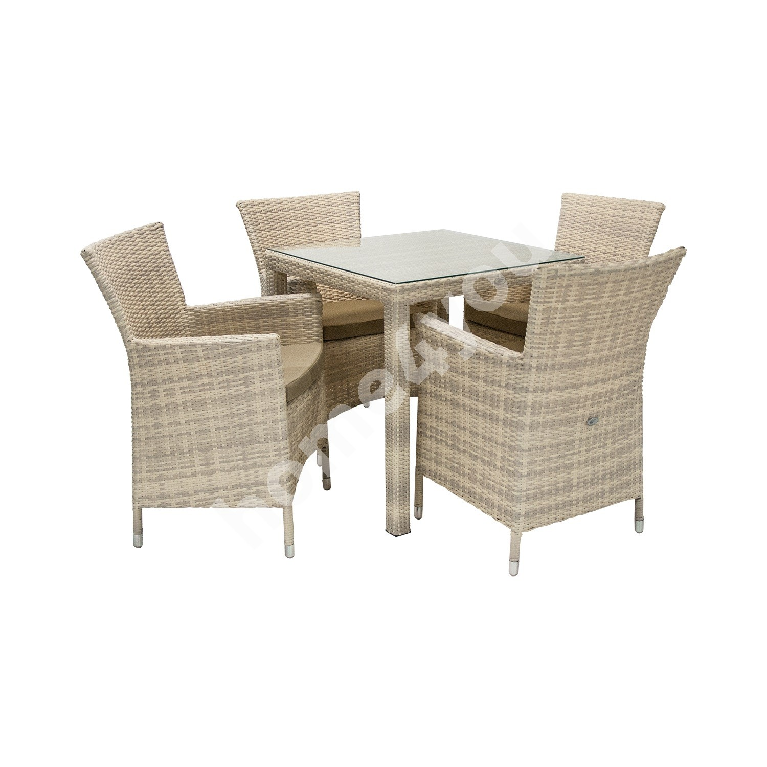 Set WICKER table and 4 chairs (1270), 73x73xH71cm, aluminum frame with plastic wicker, color: beige