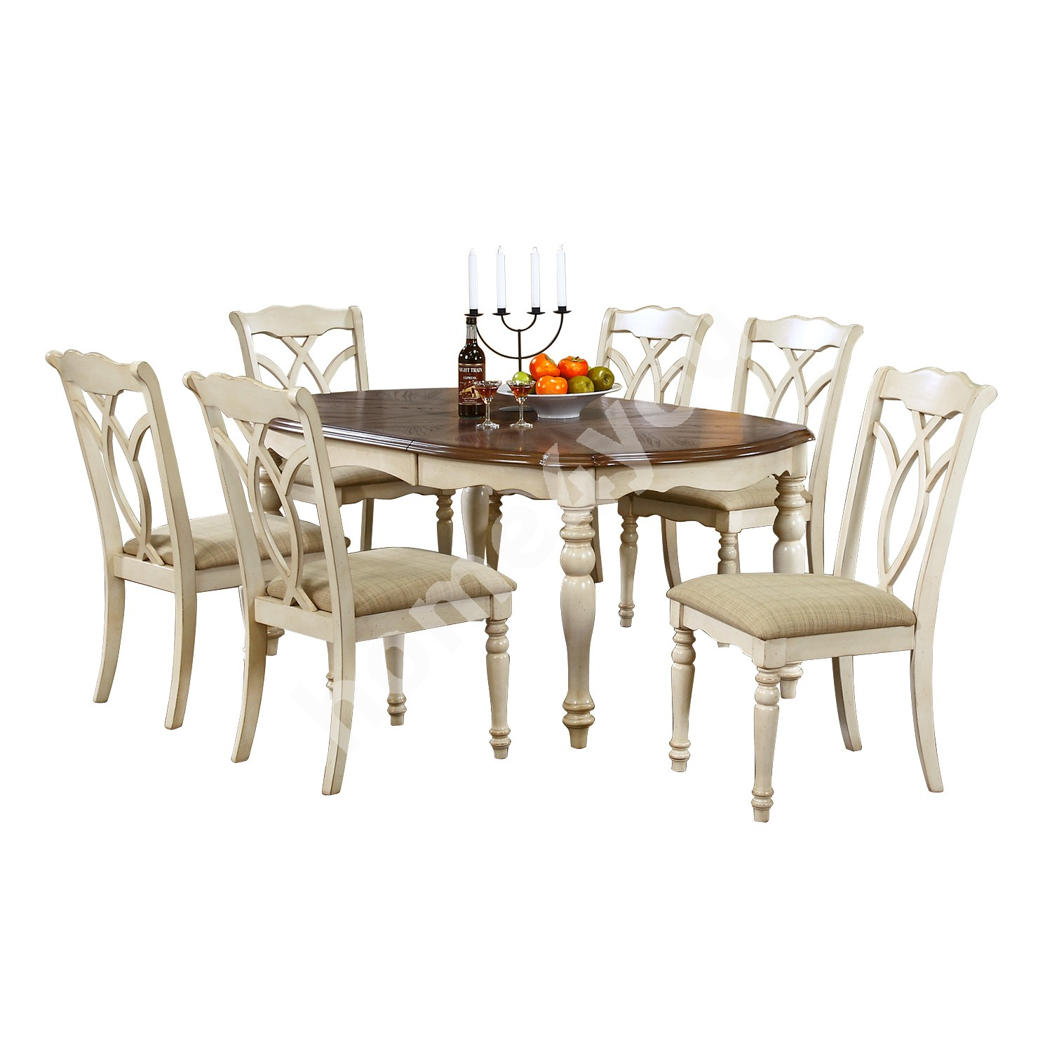 Dining set LILY with 6-chairs (14357) 106,5x137+45xH76cm, material: oak veneer on MDF / rubber wood, color: oak / antiqu