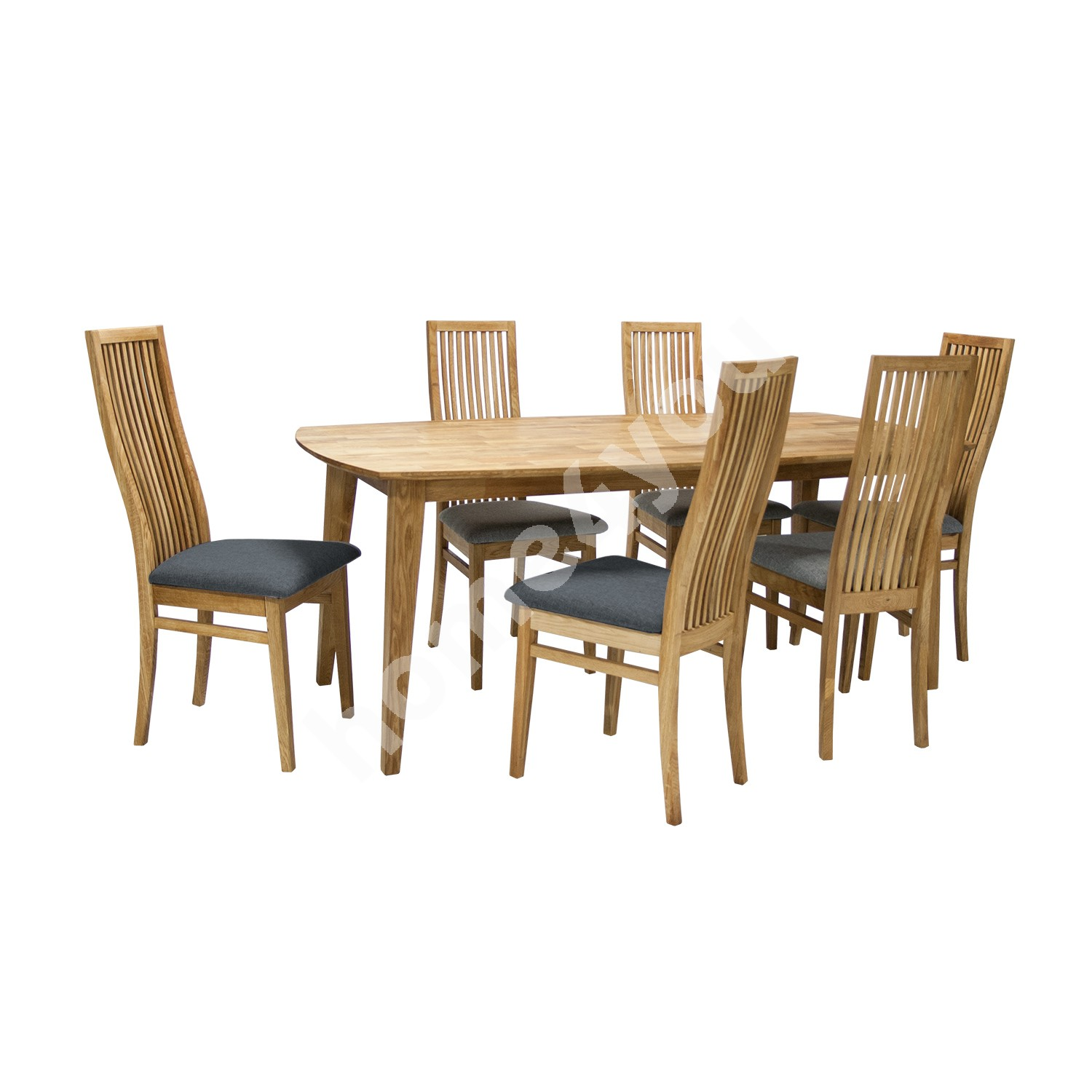 Dining set RETRO with 6-chairs (19923), 190x90xH75cm, wood: oak, finish: oiled