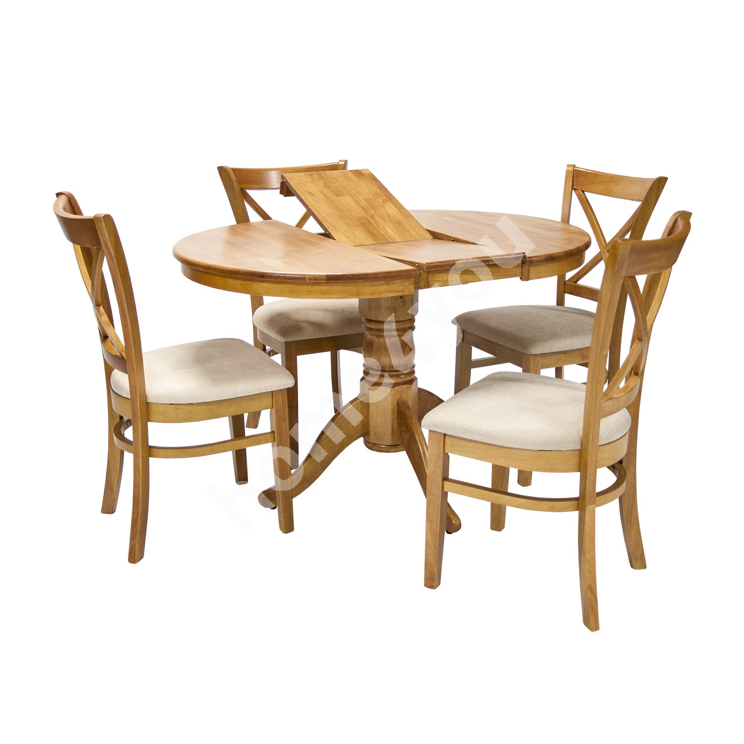 Dining set MIX & MATCH with 4-chairs (20838), D90+30xH74cm, wood: rubber wood, color: light oak, finish: lacquered