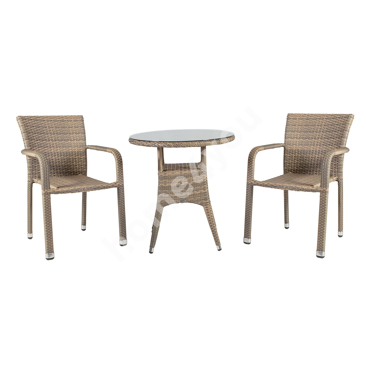 Garden furniture set LARACHE table and 2 chairs (2102) table top: transparent glass, aluminum frame with plastic wicker,