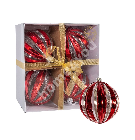 Glass ball 4pcs LUXO D12cm, red stripe