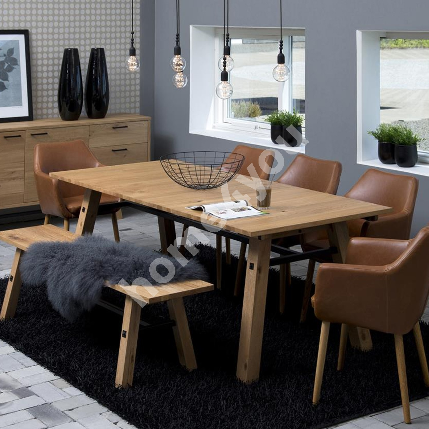 Dining set STOCKHOLM with 6-chairs (AC55607) 210x95xH75cm, wood: oak, finishing: lacquered