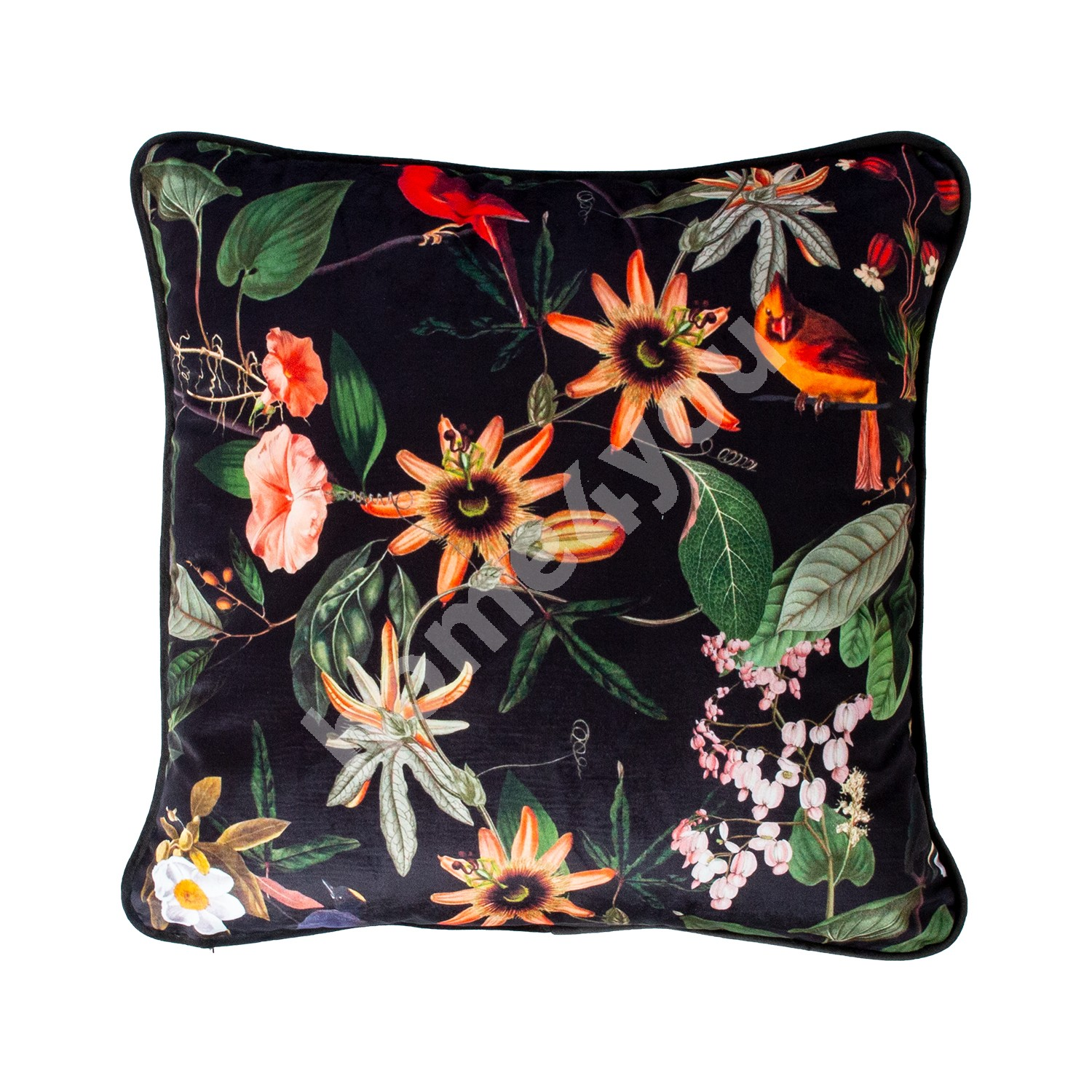 Pillow BLACK HOLLY 45x45cm, flowers on a black background